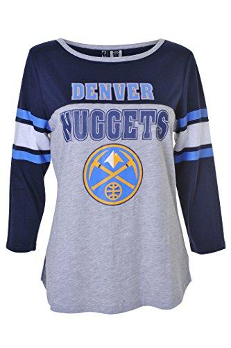NBA Denver Nuggets Women's T-Shirt Raglan Baseball 3/4 Long Sleeve Tee Shirt, Medium, Gray ()