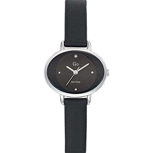 GO 698926 - Reloj de mujer - Cuarzo - Analógico - Esfera negra - Correa de piel negra: Amazon.es: Relojes