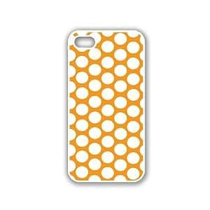Polka Dots Pattern - Pumpkin - Protective Designer WHITE Case - Fits Apple iPhone 5 / 5S