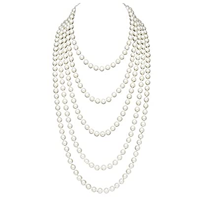 "BABEYOND ART DECO Fashion Faux Pearls Flapper Beads Cluster Long Pearl Necklace 55"" Diameter of Pearl 0.315"""