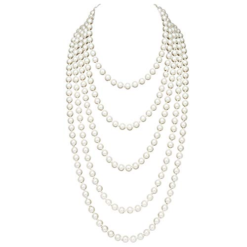- BABEYOND Vintage 1920s Gatsby Imitation Pearl Choker Necklace 20s Art Deco Flapper Accessories for Women White (118