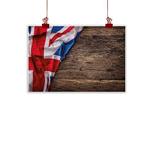 (Mangooly Canvas Prints Boho Union Jack,Flag on Oak Board 20
