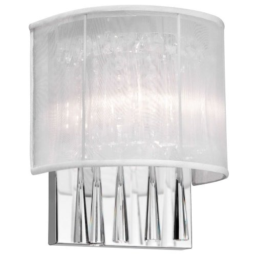 Dainolite Lighting JOS72-W-PC-119 2-Light Crystal Wall Sconce with White Shade
