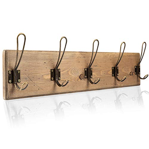 Wall Mounted Coat Rack - Rustic Wooden 5 Hook Coat Hanger Rail, Distressed Wood, Antique Brass Hooks