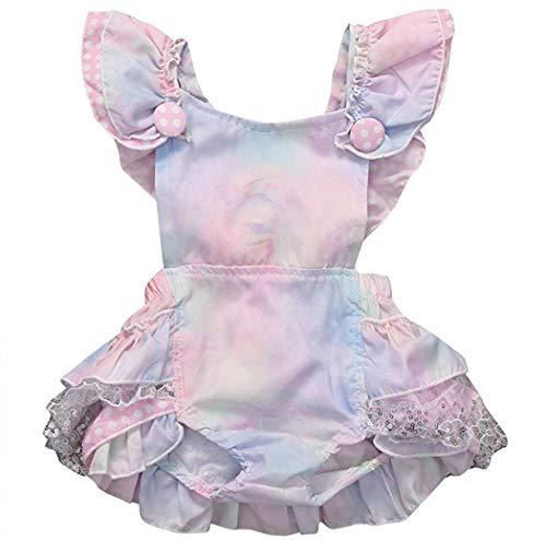 Noubeau Inflant Baby Girls Gradient Ruffle Cross Back Sunsuit Bow Romper Dress Summer Bodysuit (Pink, 6-12 ()