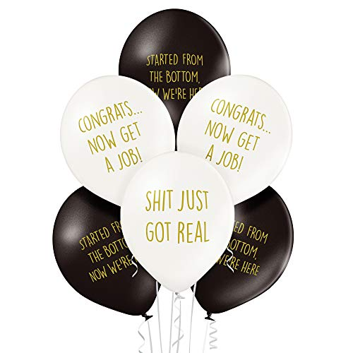 Rude Graduation Balloons - Pack of 12 Premium White and Black Funny -
