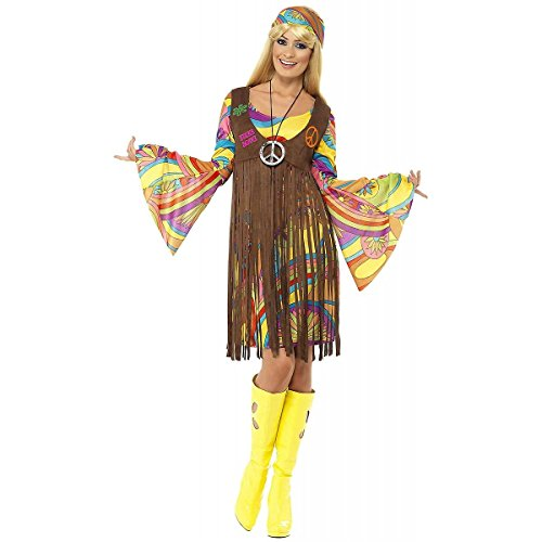 [60's Groovy Lady Peace Wild Flower Child Hippie Fringe Waistcoat Costume Dress (1X-Plus Size)] (Wild Flower Child Hippie Costume)