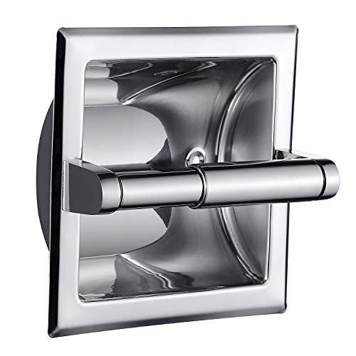 SMACK Polished Chrome Recessed Toilet Paper Holder - Includes Rear Mounting Bracket