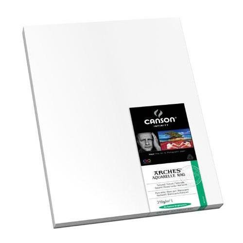 Canson Infinity Infinity Aquarelle Rag, Textured Pure White, Watercolor Matte Inkjet Paper, 310gsm, 17x22