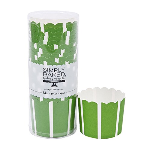 Simply Baked Large Paper Baking Cups, Green with White Stripe, 20-Pack, Disposable and Oven-safe