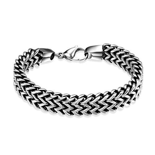 Vintage Wheat Chain - HMILYDYK 316L Stainless Steel Two-strand Wheat Chain Bracelet for Men Punk Biker Bracelet,8.0 inches