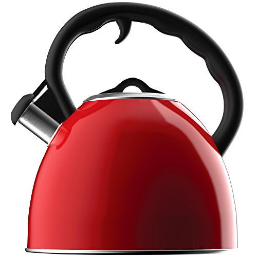 Vremi Whistling Tea Kettle - Red 2 Quart Modern Dome Teapot for Kitchen Stove Top - Decorative 8 Cup Stainless Steel Tea Pot with Fast Boil and Steam Whistle for Induction Gas or Electric Stovetop (Ceramic Cookware Xtrema compare prices)