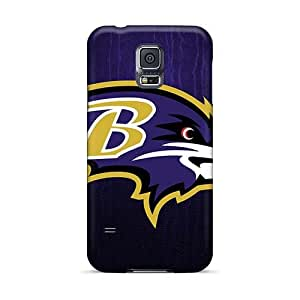 Shock Absorption Cell-phone Hard Covers For Samsung Galaxy S5 (Vsb10693hxkt) Unique Design Lifelike Baltimore Ravens Skin