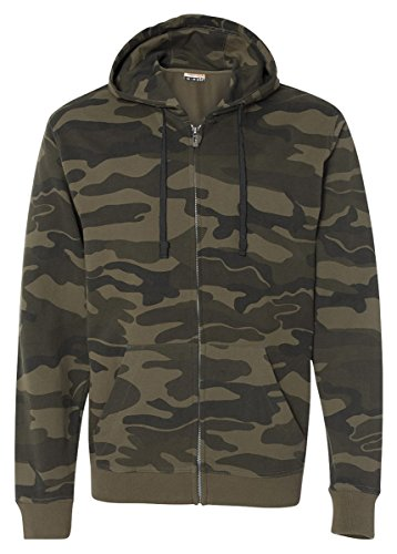 Burnside Camo Full-Zip Hooded Sweatshirt.B8615 - Medium - Green Camo Camouflage Hooded Sweatshirt