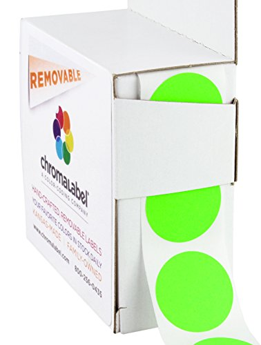 Green Inventory Circle Labels - ChromaLabel 1 inch Removable Color-Code Dot Labels | 1,000/Dispenser Box (Fluorescent Green)