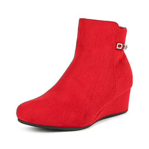 DREAM PAIRS Women's Felicia RED Low Wedge Ankle Bootie Size 8 B(M) US