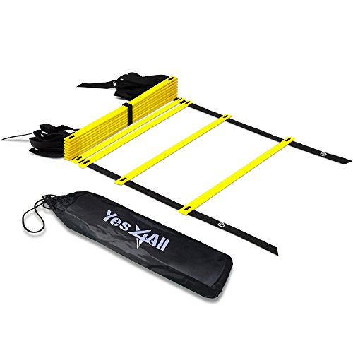 Yes4All Agility Ladder – Speed Agility Training Ladder with Carry Bag – 12 Rung (Yellow) (Issue Team Yellow)
