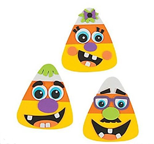 Fun Express 12 Goofy Silly Face Candy Corn Magnet Halloween Craft Kits]()