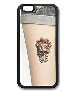iCustomonline Custom Image Skull on Leg Soft Back TPU Black Case Skin Cover For iPhone 6 (4.7 inch)