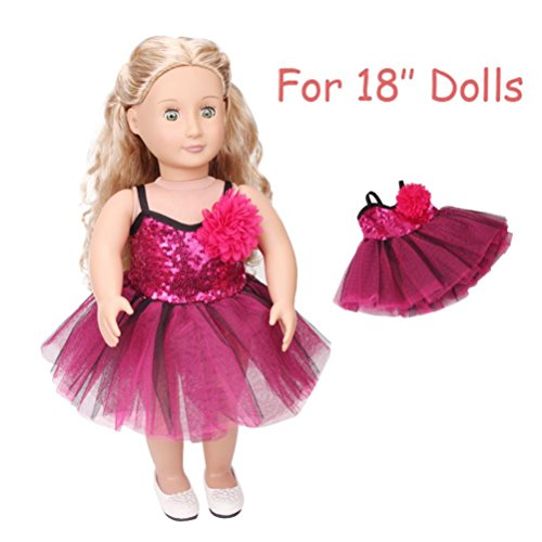 Gbell Beautiful Flash Costumes Glittering Dress for 18 inch Our Generation American Girl Doll,Girls Favor, Doll Accessories (Purple)