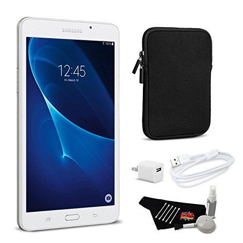 (Samsung Tab A 8GB 7 Inch Tablet Wi-Fi Only (White, SM-T280NZWAXAR) Bundle with Tablet Sleeve)