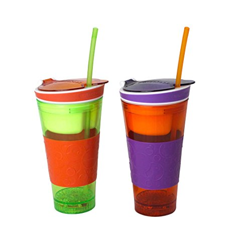 Snackeez 2 in 1 Snack and Drink Cup One Cup (Purple/Orange) - 1