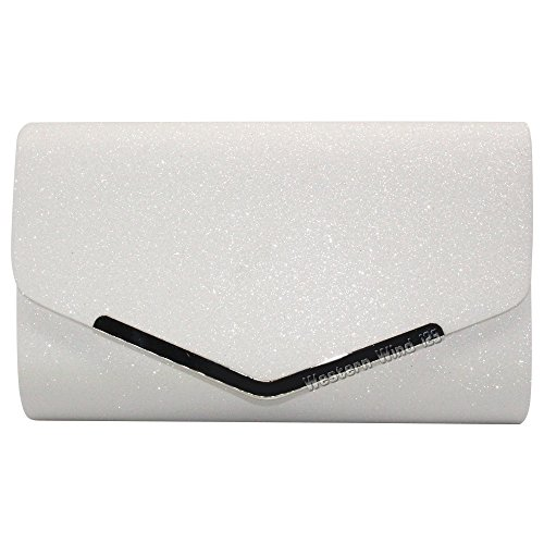 Black Womens Evening Bridal Clutch Handbag Sparkly Party Wocharm White Fashion Bag White Prom Silver CHdWq0w