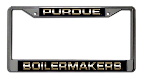 - Rico Industries NCAA Purdue Boilermakers Laser Cut Inlaid Standard Chrome License Plate Frame
