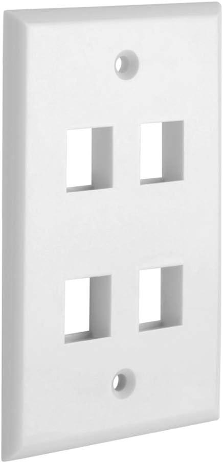 Cmple - 4 Port Keystone Wall Plate Single-Gang Wall Plate with Standard Size Keystone Jack Insert - White