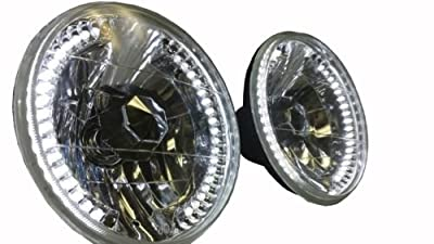 "H-A-Motorsports 131569284552 Jeep Wrangler Tj Jk 7"" LED Halo White Round Chrome Clear Headlights """