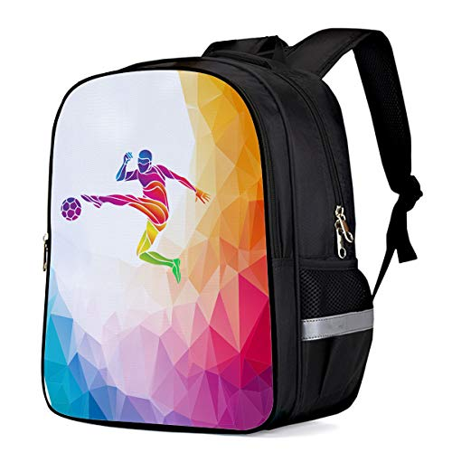 Water Resistant School Backpack, Geometry Football Oxford 3D Print College Student Rucksack Daypack for School Camping Travel 33x28x16cm]()