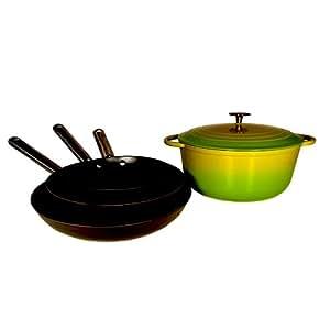 Le chef 5 piece enamel cast iron cookware set for Naaptol kitchen set 70 pieces