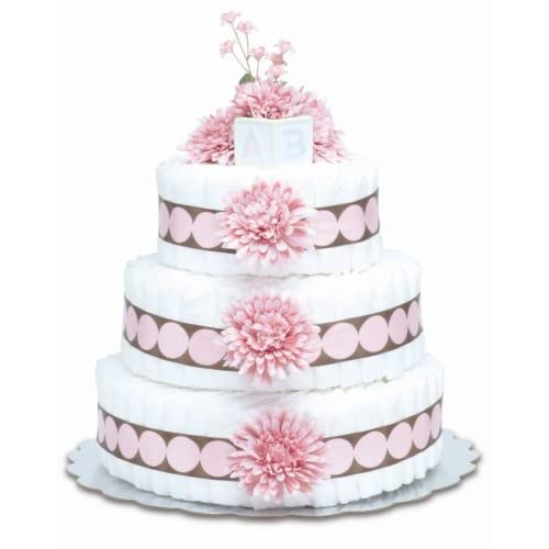 Image of Bloomers Baby Diaper Cake Modern Pink Mums 3-Tier Baby