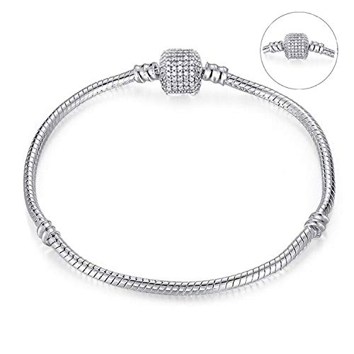 Monet Pattern Bracelet (Leving Crystal Beads Charms Bracelet for Women with Safety Chain Fine Bracelet for Couple Gift,BA017,16cm)