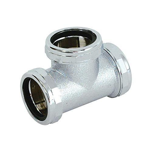 (Eastman 35139 22-Gauge Steel 3-Way Tee Fitting, Chrome)