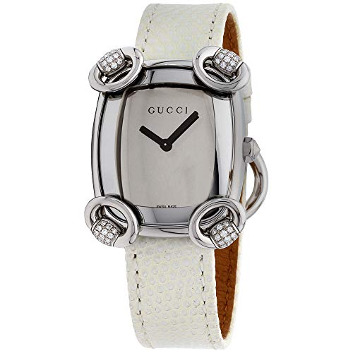 Gucci Women's Swiss Quartz Stainless Steel and Leather Casual Watch, Color:White (Model: YA117506)
