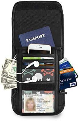 ドクロ 頭蓋骨 頭部 パスポートホルダー セキュリティケース パスポートケース スキミング防止 首下げ トラベルポーチ ネックホルダー 貴重品入れ カードバッグ スマホ 多機能収納ポケット 防水 軽量 海外旅行 出張 ビジネス