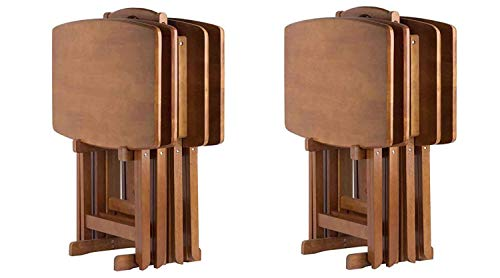 Winsome Wood Dylan Snack Table Teak Pack of 2
