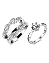Uloveido Women's Platinum Plated Cubic Zirconia Infinity Wedding Band Guard Enhancer Double Wedding Ring Set Y479-J002