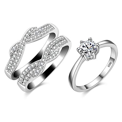 Uloveido Silver Color Criss Cross Infinity Ring Guard Enhancer with Cubic Zirconia Halo Wedding Rings Set for Women (Size 7)