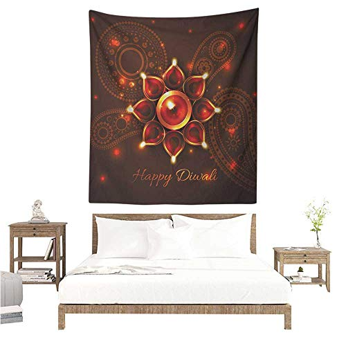 Needlepoint Paisley Brown (Diwali Living Room Tapestry Paisley Design Backdrop with Beams and Diwali Wishes Candles Tribal Celebration Tapestry for Home Decor 70W x 93L INCH Bronze Brown)