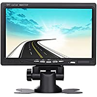 Hikity Vehicle Backup Monitor 7 inch TFT LCD Display Car Monitors 2 Video Input & High Resolution Rotating with Remote Control