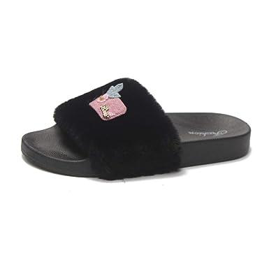 f1bdb55ef25 FORUU Womens Ladies Slip On Sliders Fluffy Faux Flat Slippers Flip Flop  Sandals Black