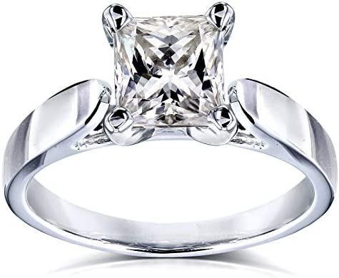 Kobelli Princess Moissanite Solitaire Peg Head Cathedral Engagement Ring 7/8 Carat 14k White Gold