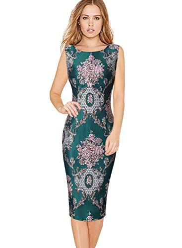 VFSHOW Womens Elegant 3D Floral Jacquard Cocktail Party Bodycon Sheath Dress 1973 GRN 3XL Green