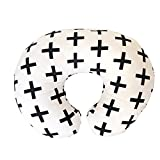 Premium Quality Nursing Pillow Cover by Mila Millie - Nordic Swiss Black Cross Unisex Design Slipcover - 100% Cotton Hypoallergenic - Perfect Baby Shower Gift - Fits Boppy Pillow