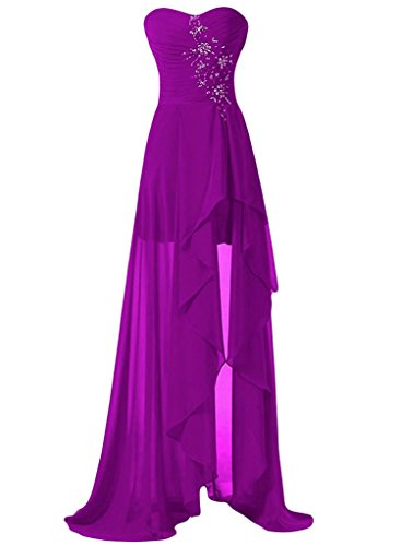 ASBridal Women's High Low Chiffion Beading Evening Prom Dress Strapless Sweetheart Bridesmaid Gown, Fuchsia, US6