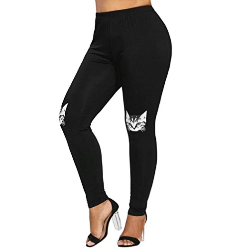 Women Leggings Yoga Pants Kitty Cat Print Elastic Skinny Sport Pencil Trousers (L, Black)