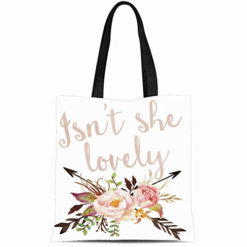 Ahawoso Canvas Tote Bag 14x16 Inches Boho She Lovely Baby Girl Nursery Durable Reusable Custom Shopping Shoulder Grocery Bag