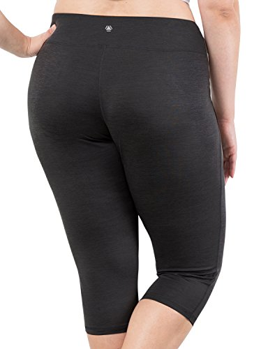 Yoga Reflex Women's Plus Size Active Yoga Running Sports Capris Legging (XL-4XL) , Black , XXX-Large